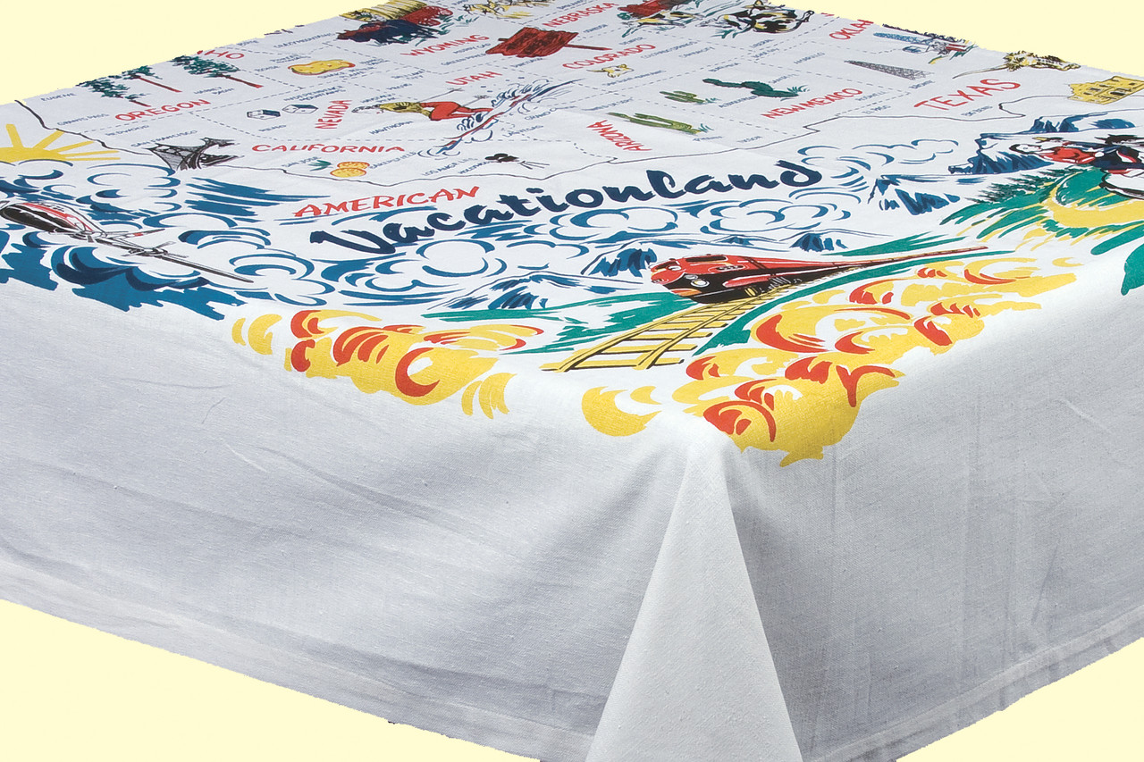 Vacationland Map Tablecloth - Red and White Kitchen Company