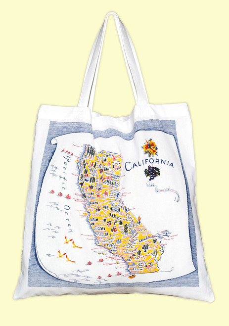 California, Blue,  Map Tote--Large