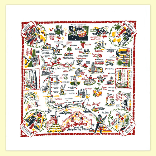Los Angeles Map Towel
