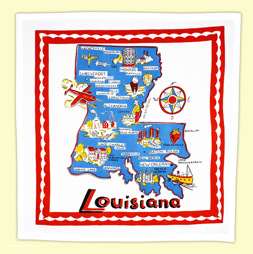 Louisiana Map Towel