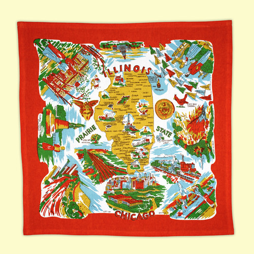 Illinois Map Towel