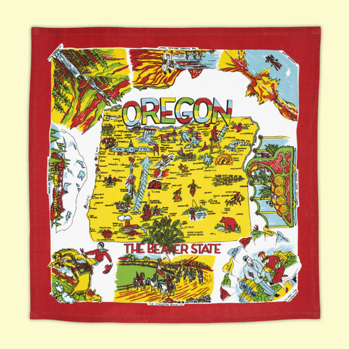 Oregon, Red, Map Towel