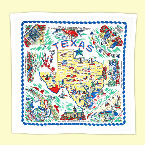 Texas, Yellow, Map Towel