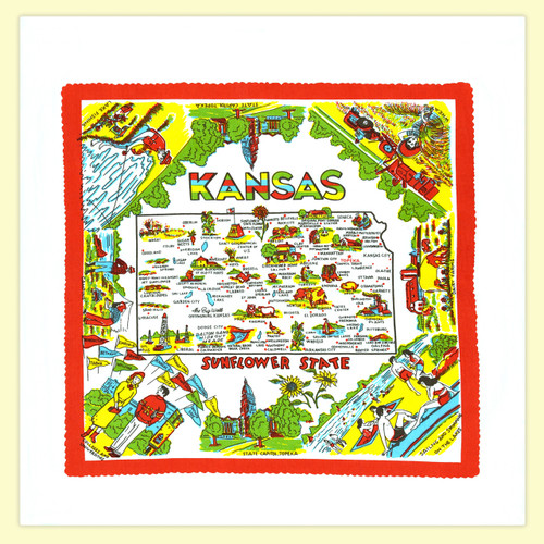 Kansas Map Towel