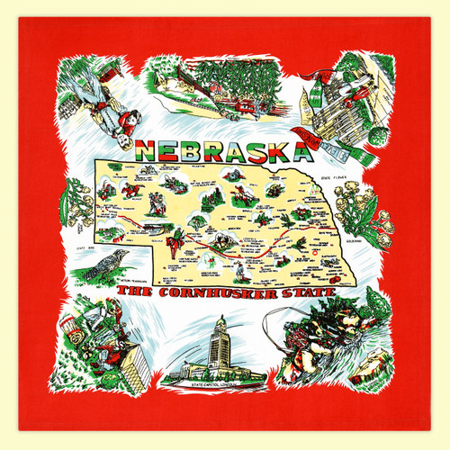 Nebraska Map Towel