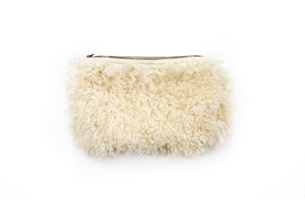 Cream Curly Sheep Clutch