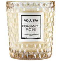 Voluspa Bergamot Rose Classic Textured Glass Candle