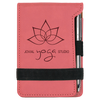 Pink Leatherette Small Notepad with Custom Laser Engraving