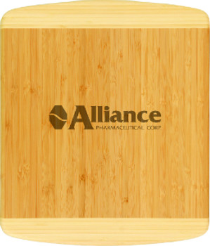 "Engraved two tone bamboo cutting board 13.5"" by 11.5"""