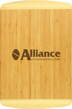 Engraved two tone bamboo cutting board by Mile High Laser Engraving