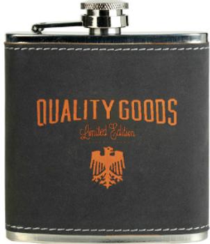 Hip Flask Black Leather Engraves Tan