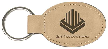 Tan Leatherette Keychain Oval with Custom Laser Engraving