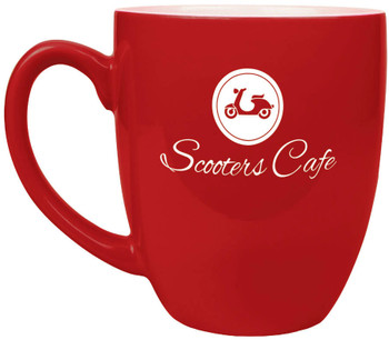 Red Coffee Mug Engraves White