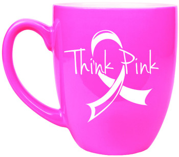 Pink Coffee Mug Engraves White