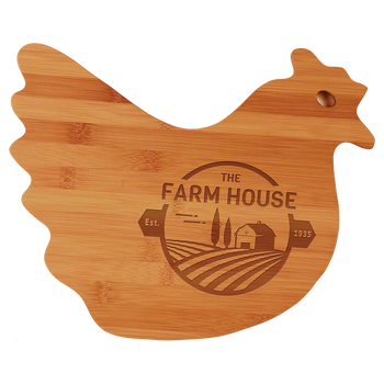 "Engraved Bamboo Hen Shaped Cutting Board 13.5"" x 10.875"""