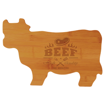 "Engraved Bamboo Cow Shaped Cutting Board 14.75"" x 9.75"""