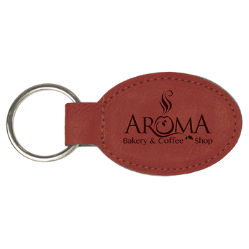 Red Leatherette Keychain with Custom Laser Engraving