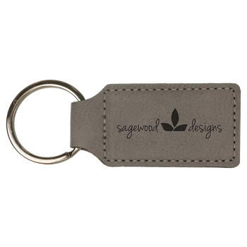 Gray Rectangle Leatherette Keychain with Custom Laser Engraving