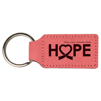 Pink Rectangle Leatherette Keychain with Custom Laser Engraving