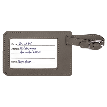 Gray Rectangle Leatherette Luggage Tag with Custom Laser Engraving