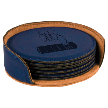 Blue Round Leatherette Coaster Set with Custom Laser Engraving