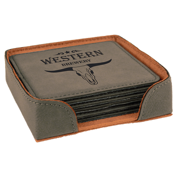 Gray Square Leatherette Coaster Set with Custom Laser Engraving
