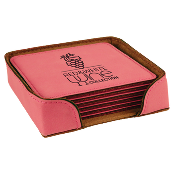 Pink Square Leatherette Coaster Set with Custom Laser Engraving