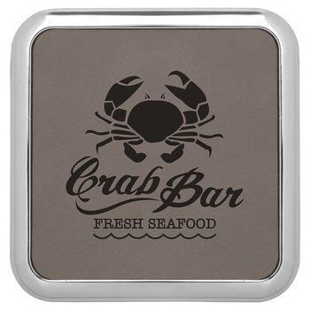Gray Leatherette Coaster (Silver Border)  with Custom Laser Engraving