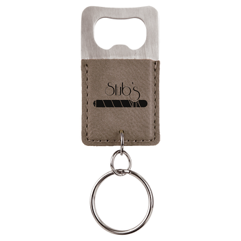 Gray Bottle Opener Keychain with Custom Laser Engraving