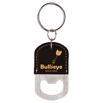 Black/Gold Oval Bottle Opener Keychain with Custom Laser Engraving