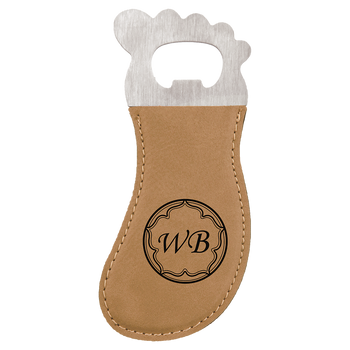 Light Brown Magnetic Foot Bottle Opener with Custom Laser Engraving