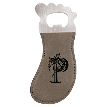 Gray Magnetic Foot Bottle Opener with Custom Laser Engraving