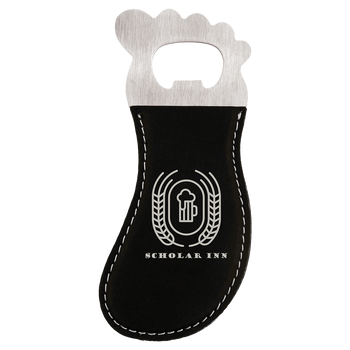 Black/Silver Magnetic Foot Bottle Opener with Custom Laser Engraving