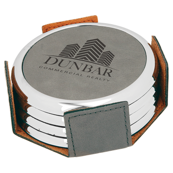 Gray Round Leatherette Coaster Set (Silver Border)  with Custom Laser Engraving