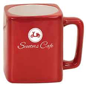 Red Square Coffee Mug Engraves White