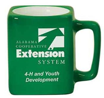 Green Square Coffee Mug Engraves White