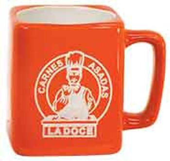 Orange Square Coffee Mug Engraves White