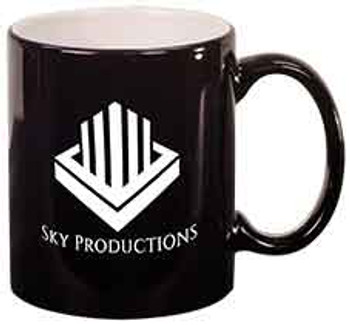 Black Round Coffee Mug Engraves White