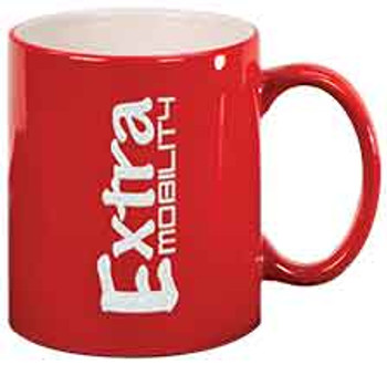 Red Round Coffee Mug Engraves White