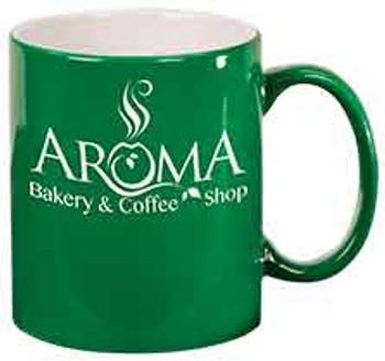 Green Round Coffee Mug Engraves White