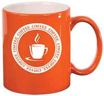 Orange Round Coffee Mug Engraves White