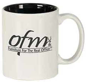 White Round Coffee Mug Engraves Black