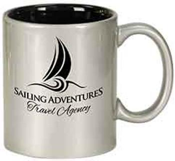 Silver Round Coffee Mug Engraves Black
