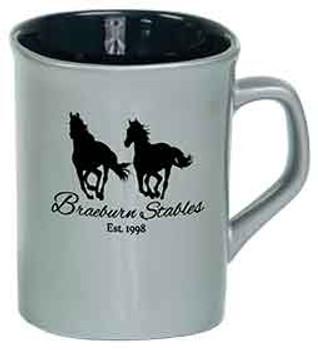 Silver Rounded Lip Coffee Mug Engraves Black
