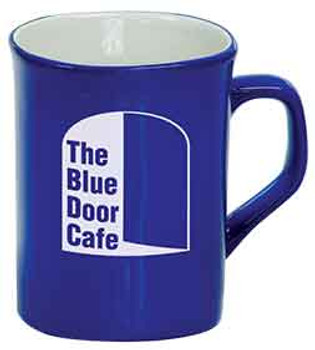 Blue Rounded Lip Coffee Mug Engraves White
