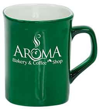 Green Rounded Lip Coffee Mug Engraves White