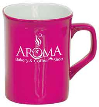 Pink Rounded Lip Coffee Mug Engraves White