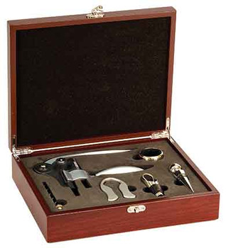Engraved Rosewood 5-Piece Wine Tool Set