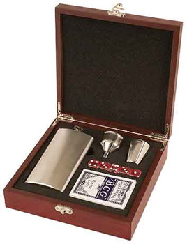 Engraved Rosewood Flask Set