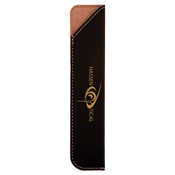 Black/Gold Leatherette Pen Sleeve with Custom Laser Engraving